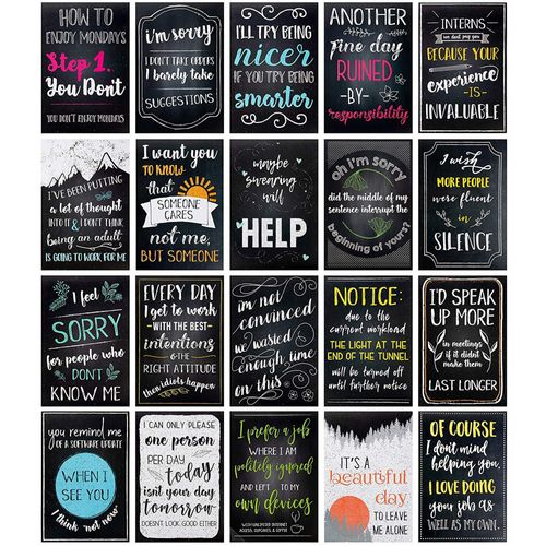 Juvale 20 Pack Funny De Motivational Satire Quotes Posters For