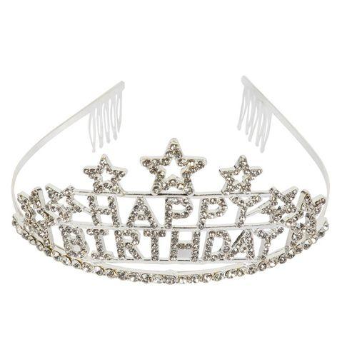 21st 30th 40th Birthday Tiara and Sash Set Satin Sash /& Rhinestone Crown Set