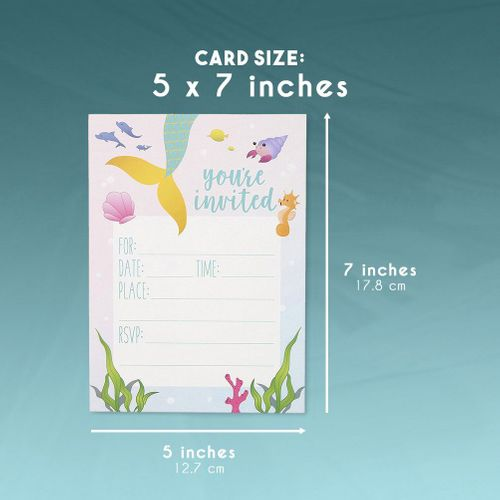 24 Pack Baby Shower Birthday Party Invitation Cards Mermaid