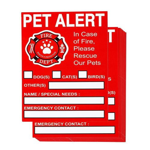 In Case Of Emergency Label, Rescue Pets Window Decal with ...  |Rescue Window Decals